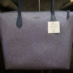 Kate Spade Large Joeley Glitter Tote (Dusk Navy)